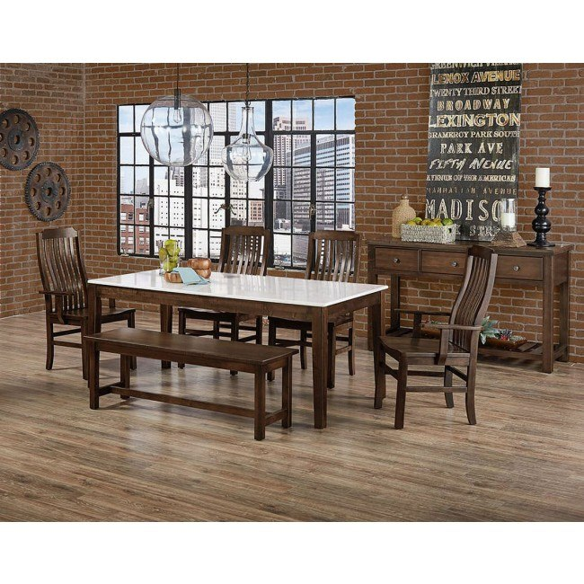 Simply Dining Quartz Top Dining Set (Dark Maple)