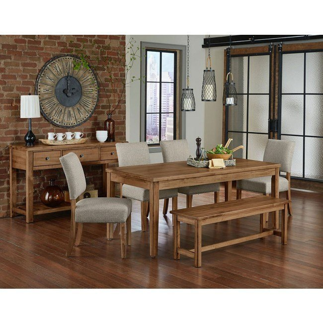 Simply Dining Kitchen Table Set w/ Upholstered Chairs (Natural Maple)
