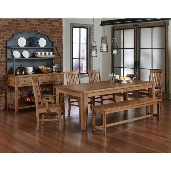 Simply Dining Wood Top Dining Set w/ Roll Top Chairs (Natural Maple)