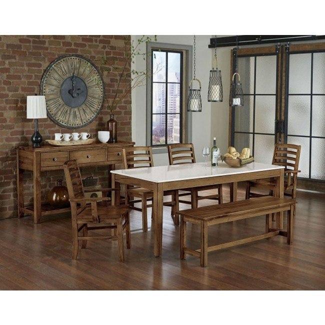 Simply Dining Quartz Top Kitchen Table Set (Antique Amish)