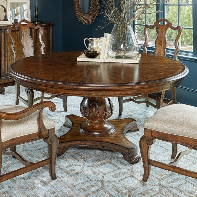Continental 72 Inch Round Dining Table Nutmeg