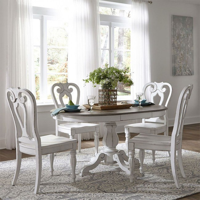 Magnolia Manor Pedestal Dining Set W Wood Chairs Liberty Furniture 2 Reviews Furniture Cart