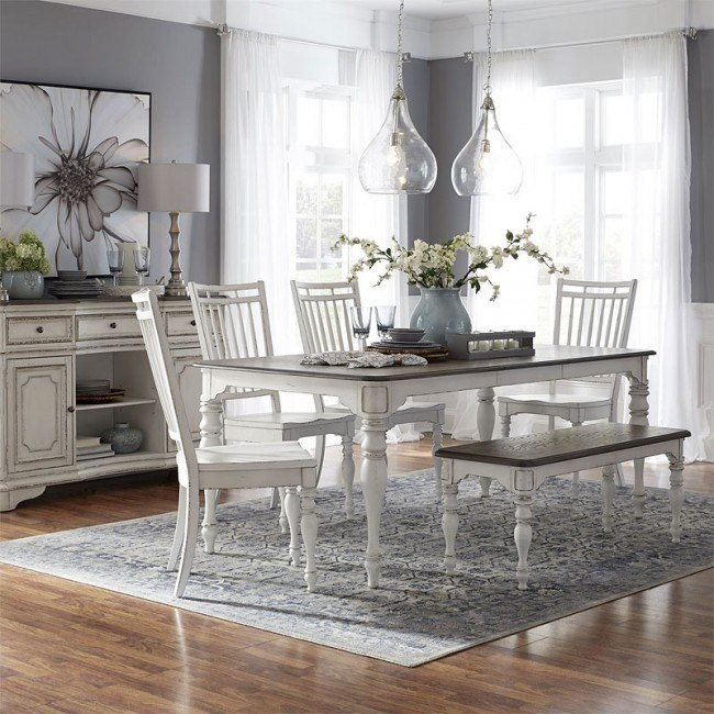 Astonishing Magnolia Manor Rectangular Dining Set W Spindle Chairs And Bench Caraccident5 Cool Chair Designs And Ideas Caraccident5Info