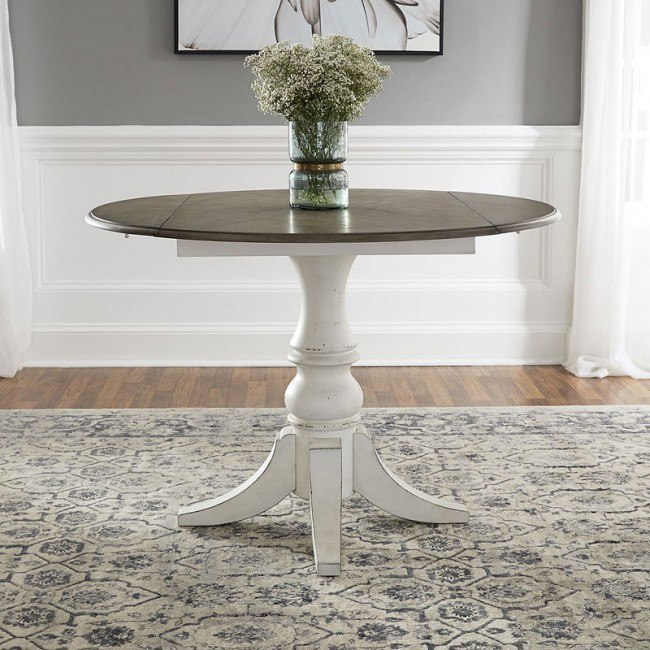 Magnolia Manor Round Drop Leaf Dining Table