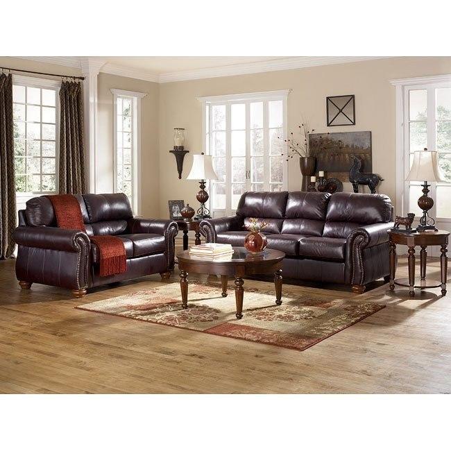 Deanville - Burgundy Living Room Set