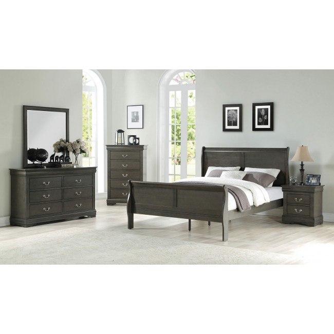 Louis Philippe Sleigh Bedroom Set Dark Gray Acme Furniture Furniture Cart