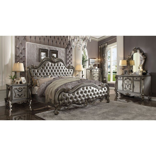 Versailles Ii Upholstered Bedroom Set Antique Platinum