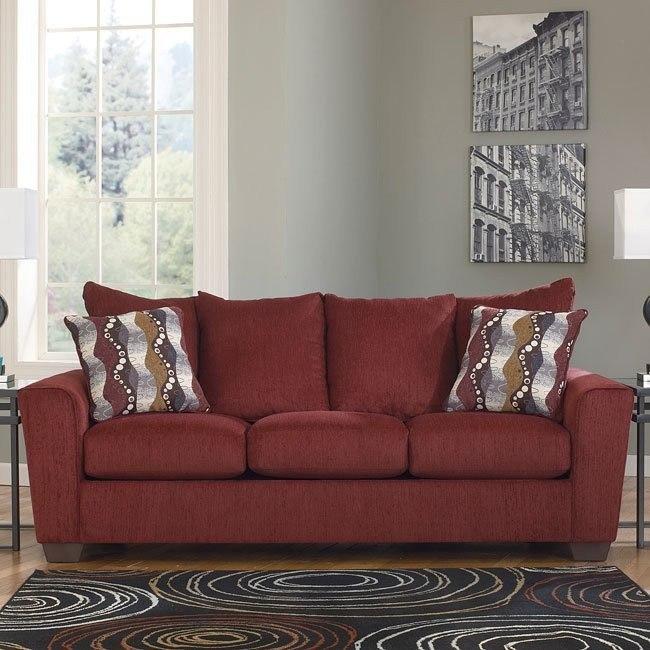 Brogain Burgundy Sofa Benchcraft Furniture Cart
