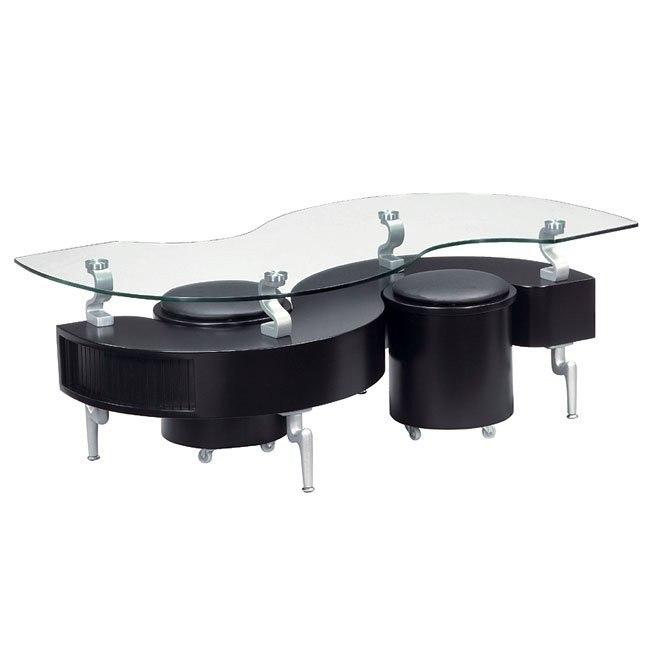 288 Black Coffee Table W Seats