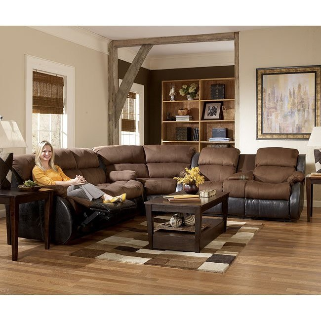 Presley Espresso Reclining Sectional Living Room Set
