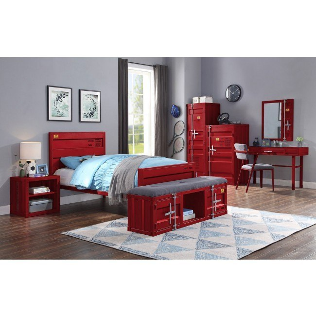 Cargo Youth Panel Bedroom Set Red Acme Furniture Furniture Cart
