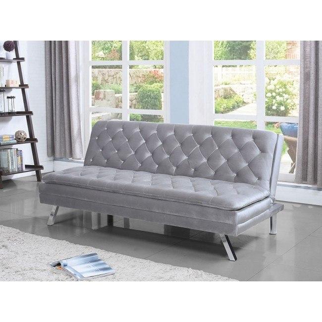 Silver Velvet Sofa Bed W Crystal