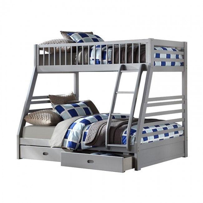 Jason Gray Twin Over Full Bunk Bed W Storage Acme Furniture Furniture Cart