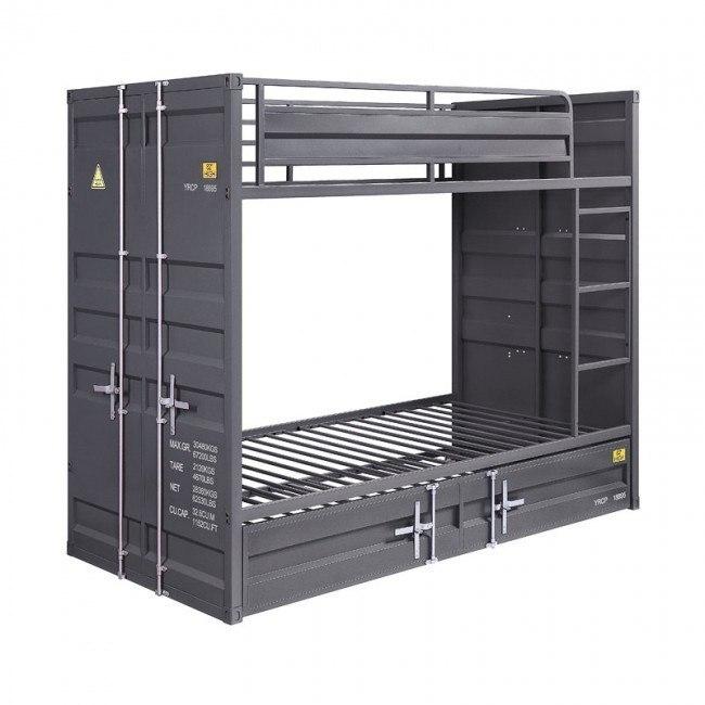 Cargo Youth Twin Over Twin Bunk Bed Gunmetal Acme Furniture Furniture Cart