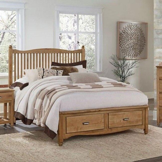 American Maple Slat Storage Bed Natural
