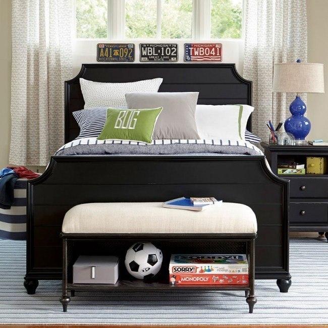 Black and White Panel Bedroom Set (Black)