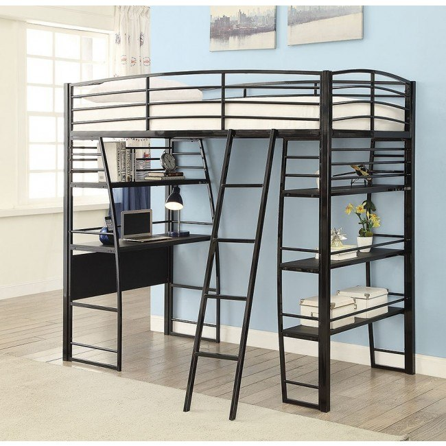 Pleasant Escalon Twin Workstation Loft Bed Black Gmtry Best Dining Table And Chair Ideas Images Gmtryco