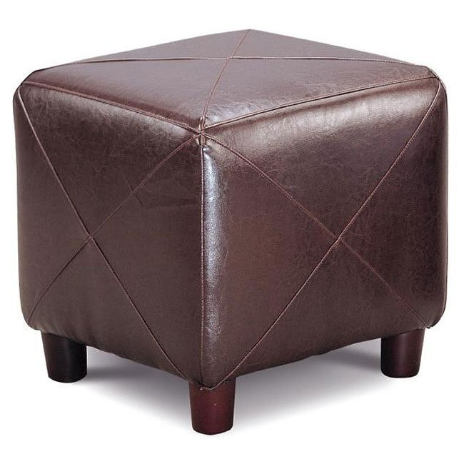 Fabulous Faux Leather Ottoman Dark Brown Dailytribune Chair Design For Home Dailytribuneorg