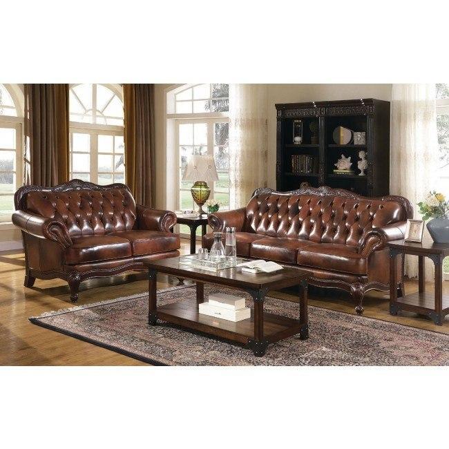Victoria Leather Living Room Set Coaster Furniture 5 Reviews Furniture Cart