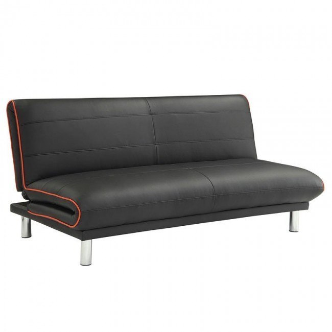 Black Sofa Bed w/ Red Edge