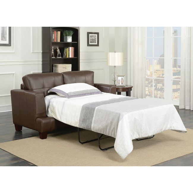 Astounding Samuel Loveseat Sleeper Dark Brown Pabps2019 Chair Design Images Pabps2019Com