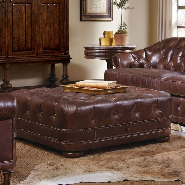 Astonishing Kennedy Walnut Leather Storage Ottoman Gmtry Best Dining Table And Chair Ideas Images Gmtryco