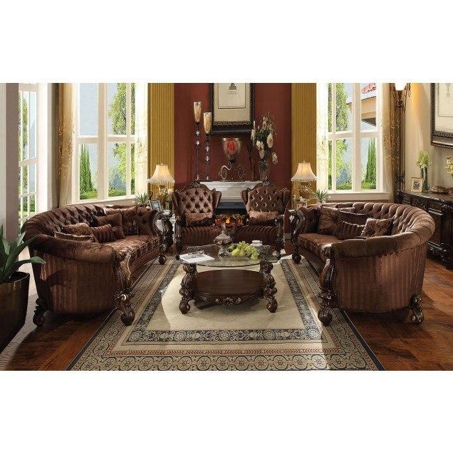 Versailles Crescent Living Room Set Brown Velvet Acme Furniture Furniture Cart