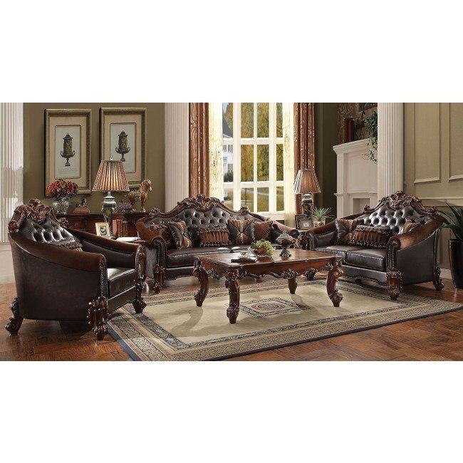 Vendome II Living Room Set (Dark Brown)