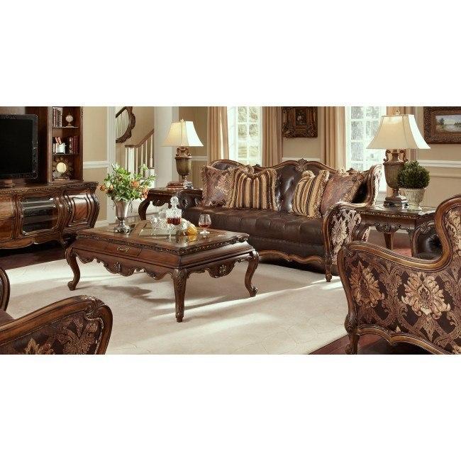 Lavelle Melange Leather Fabric Living Room Set Aico Furniture