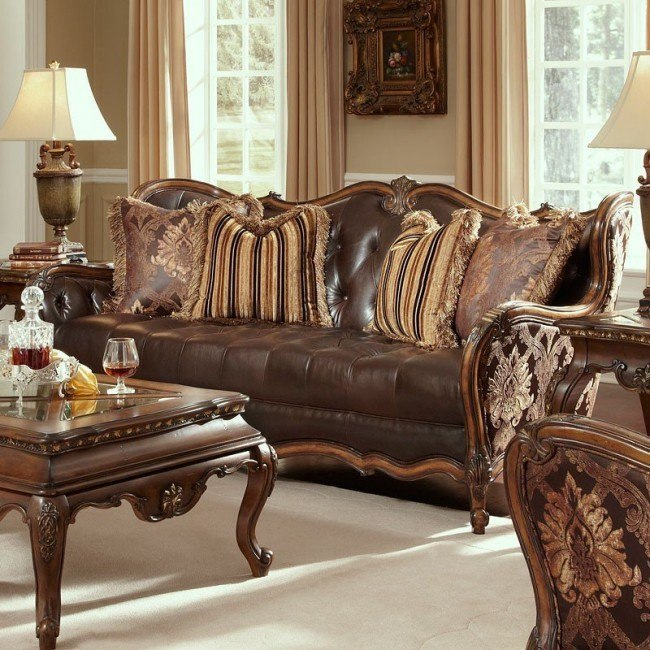 Lavelle Melange Leather/Fabric Wood Trim Tufted Sofa (Chocolate)
