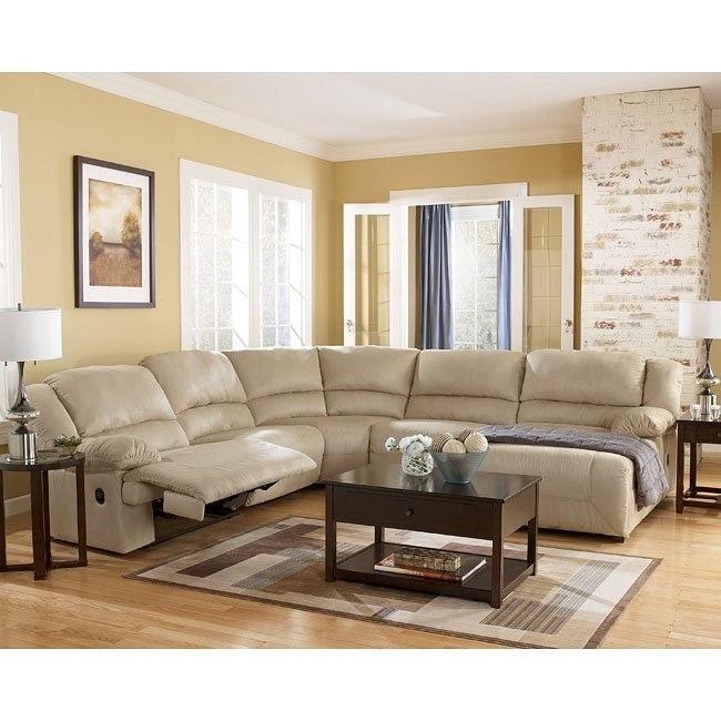 hogan  khaki chaise sectional living room set signature