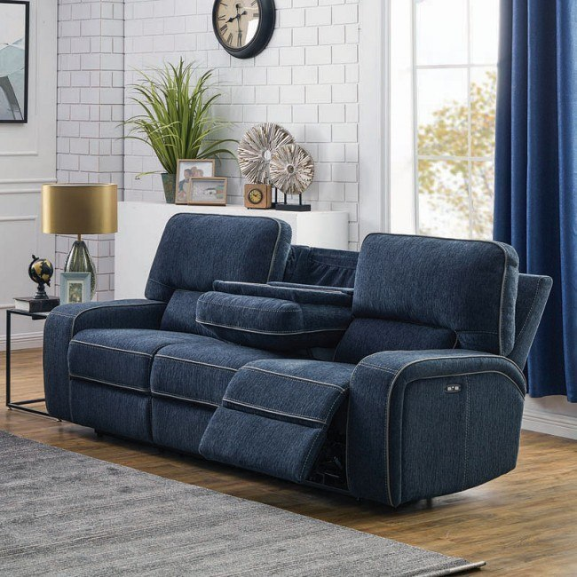 Groveland Power Reclining Sofa w/ Power Headrests (Navy Blue)