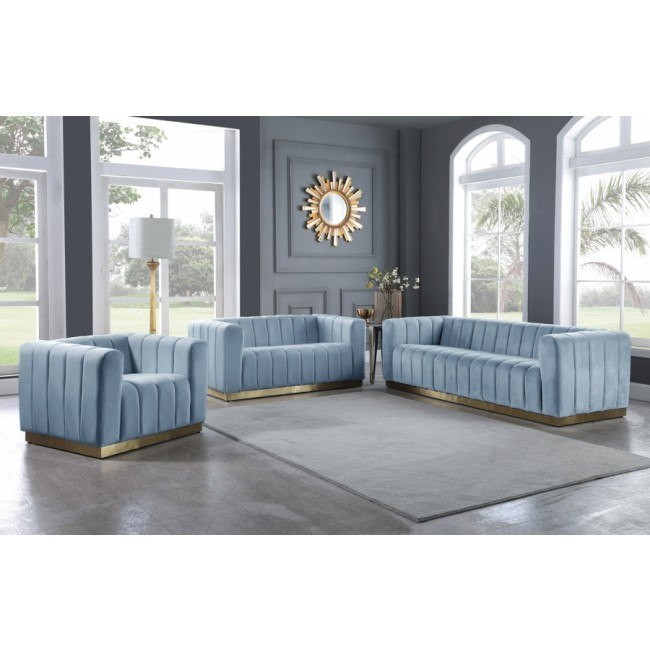 Marlon Living Room Set Sky Blue Meridian Furniture Furniture Cart