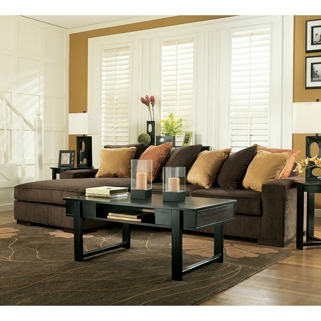 oasis  chocolate sectional living room set signature