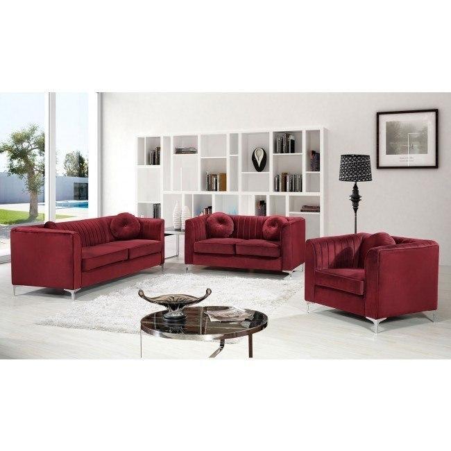 Isabelle Living Room Set (Burgundy)