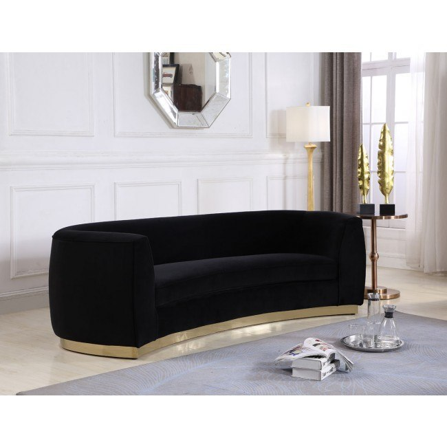 Sofa Black Gold Meridian Furniture
