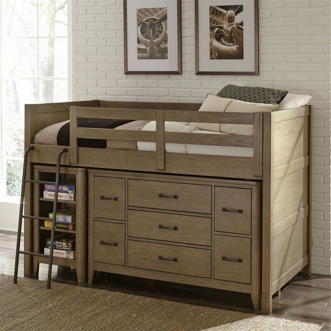 B446 Trinell Low Loft Bed With Stairs Kids Low Loft Bed With