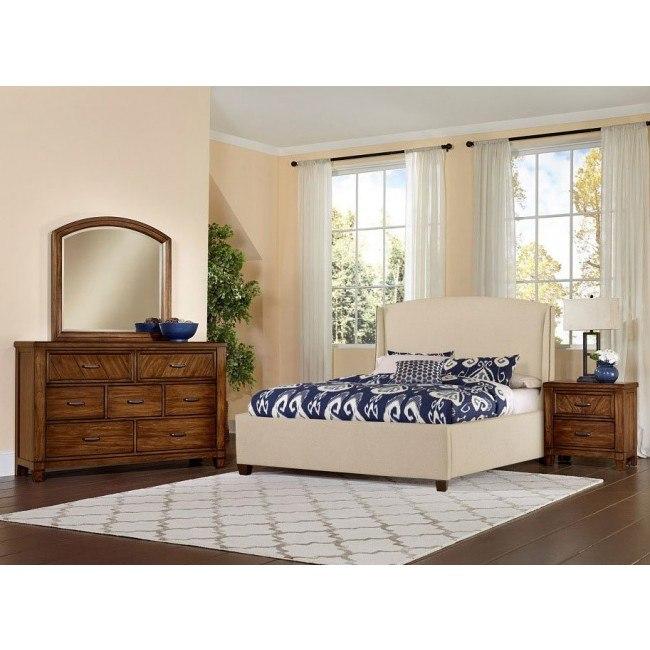 Rustic Cottage Upholstered Bedroom Set Cherry Vaughan Bassett