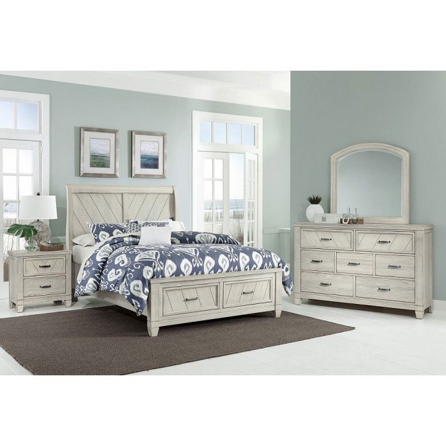 Rustic Cottage Sleigh Bedroom Set (White)