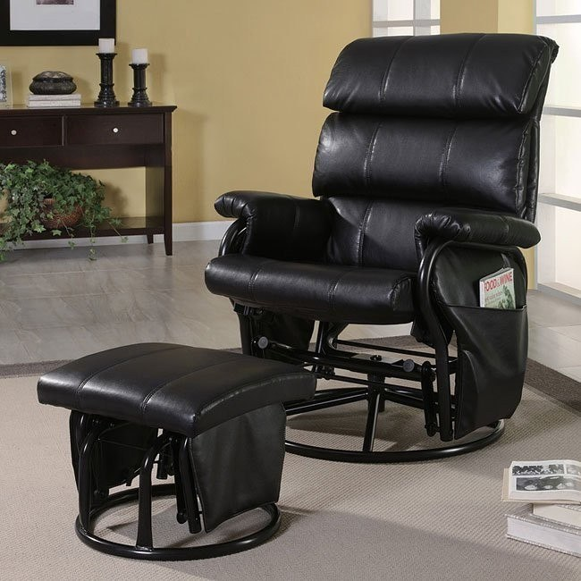 Groovy Black Leather Like Glider With Ottoman Andrewgaddart Wooden Chair Designs For Living Room Andrewgaddartcom