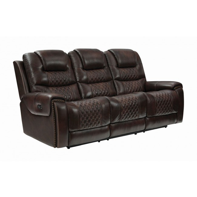 North Reclining Sofa W Headrests Dark Brown