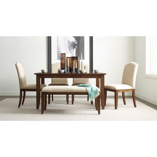 The Nook 60 Inch Rectangular Dining Set Maple W Parsons Chairs