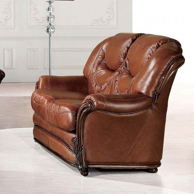 Pleasant 67 Italian Leather Loveseat Gmtry Best Dining Table And Chair Ideas Images Gmtryco