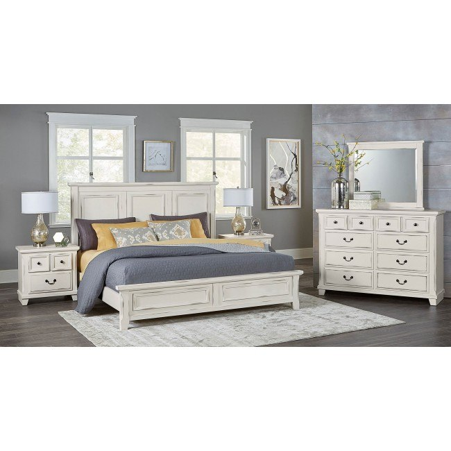 Timber Creek Mansion Bedroom Set Distressed White Vaughan