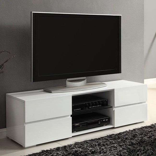 new product fcbfc 51a43 High Gloss White TV Stand w/ Storage Drawers