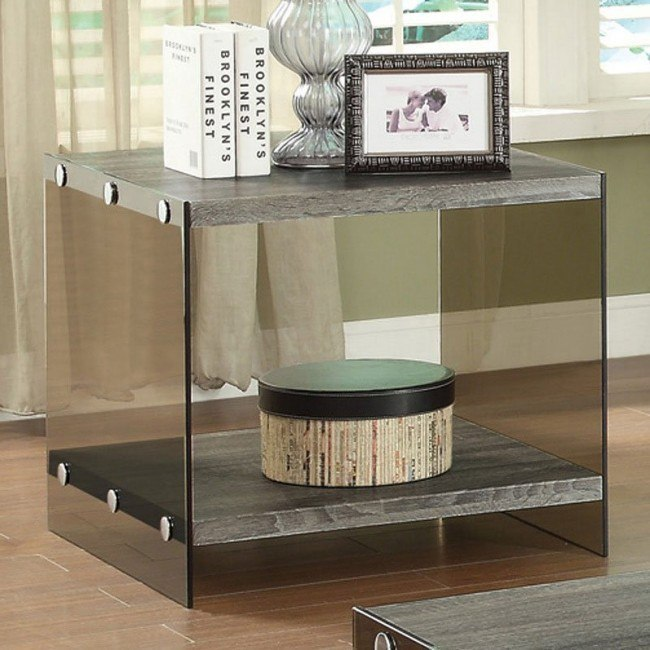 Superb Weathered Gray End Table W Glass Sides Short Links Chair Design For Home Short Linksinfo