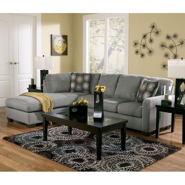 Zella Charcoal Sectional Living Room Set
