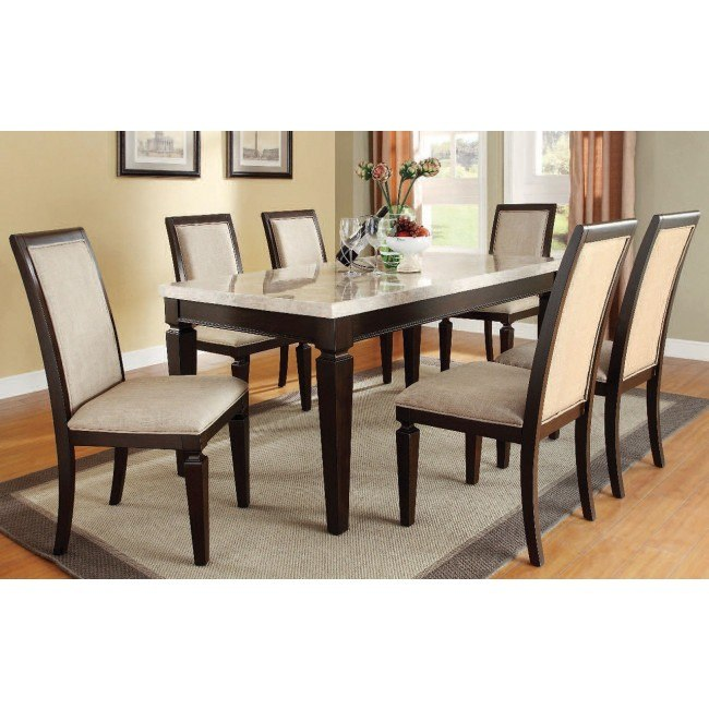 Agatha White Marble Top Dining Room Set