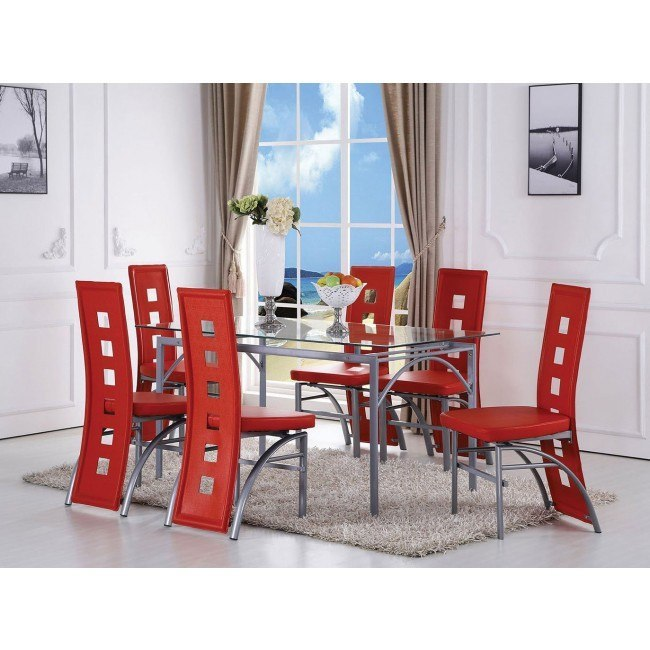 Kathie Dining Room Set w/ Red Chairs