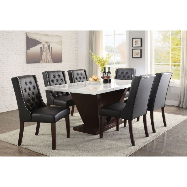 Forbes Dining Room Set W Black Chairs Acme Furniture Furniture Cart